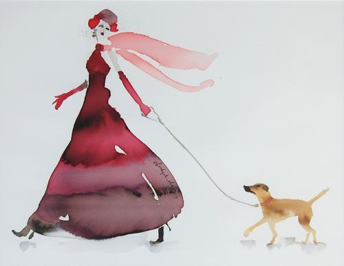Walking the Dog - Pink Scarf