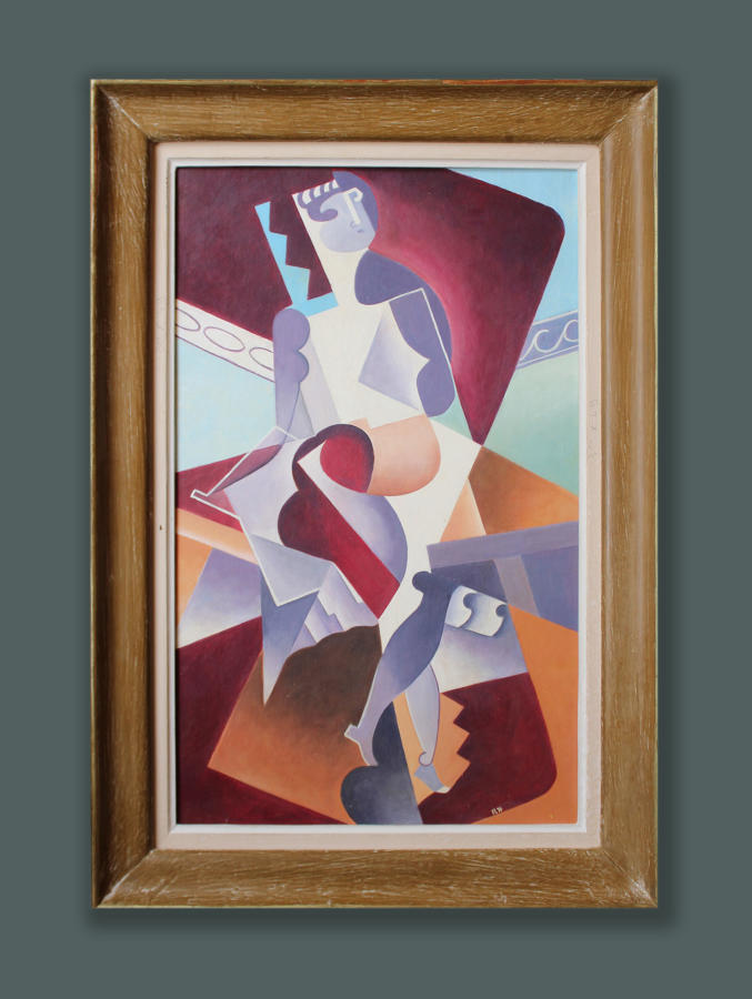 French School, c. 1940, signed R.H. - Abstracted Figure  SOLD