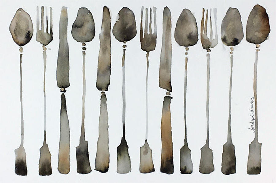 Bridget Davies - Line of Cutlery