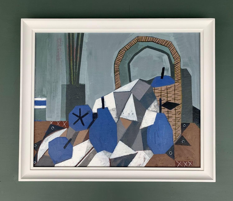 Sarah Baddon Price - Blue Pears, Basket and Cloth