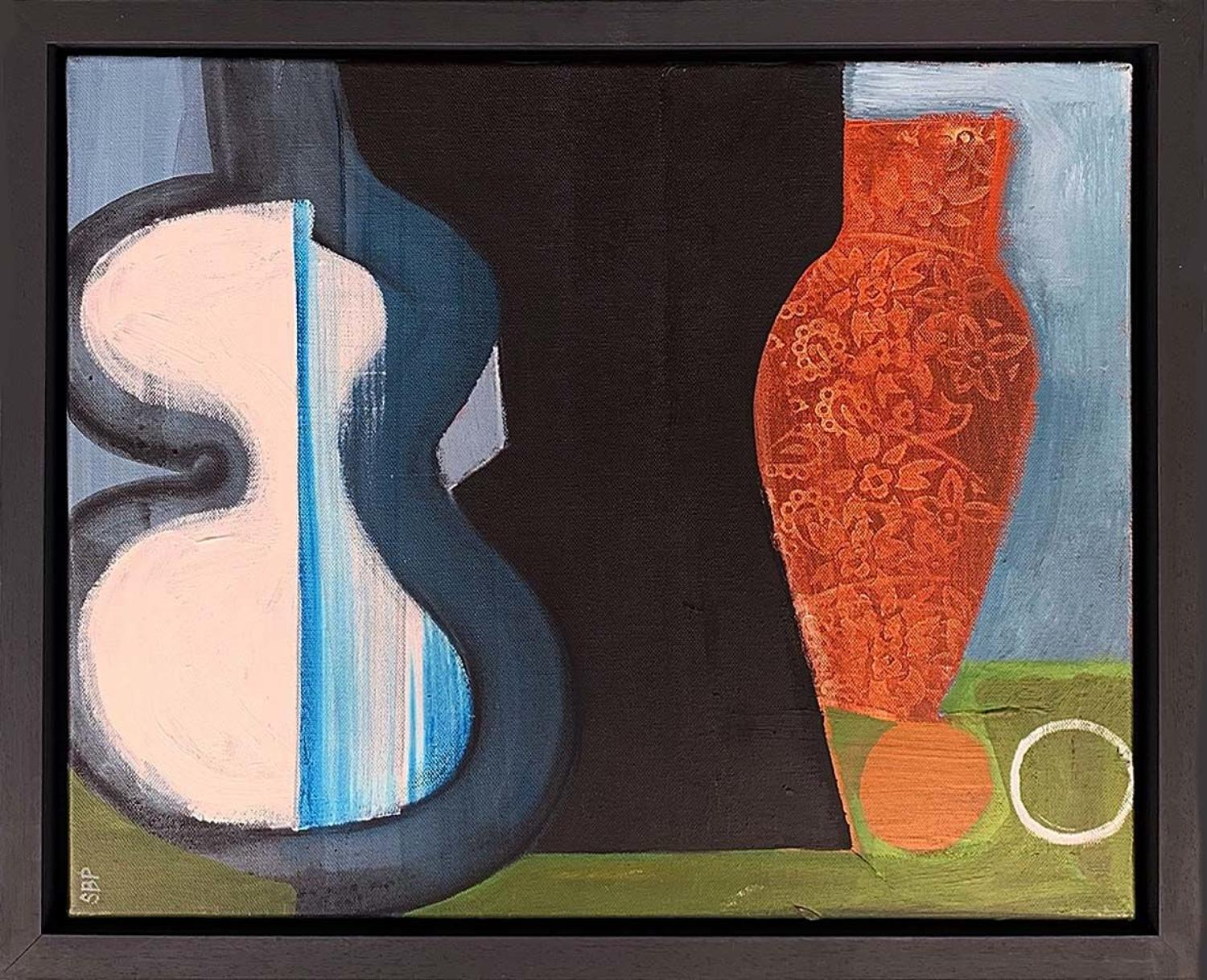 Sarah Baddon Price - Still Life with Blue Vase, Bust and Guitar
