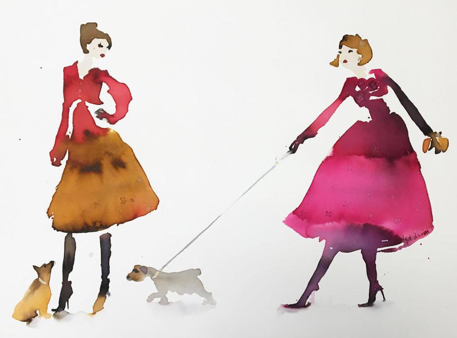 Bridget Davies - Walking the dogs