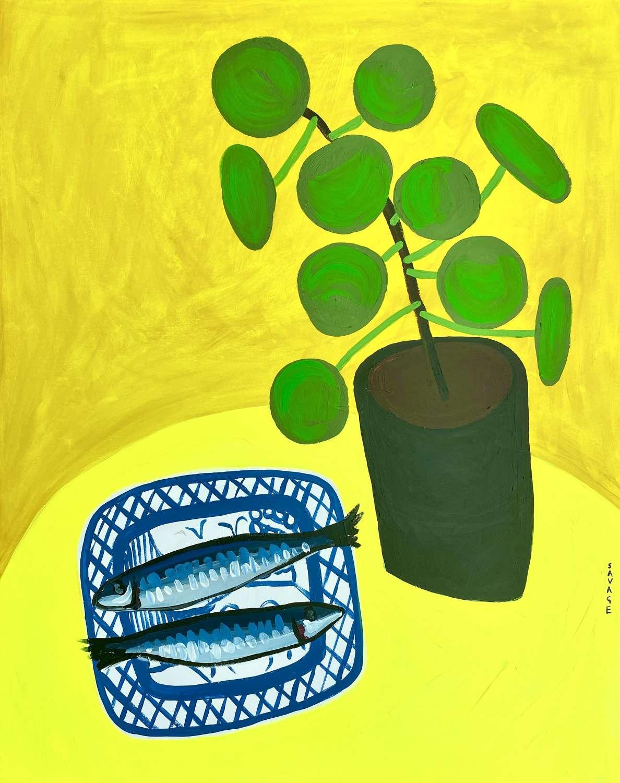 Fish on Yellow - Natalie Savage