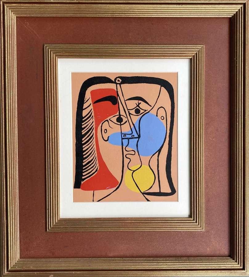 Grande Tête Rouge Bleu Jaune - After Pablo Picasso